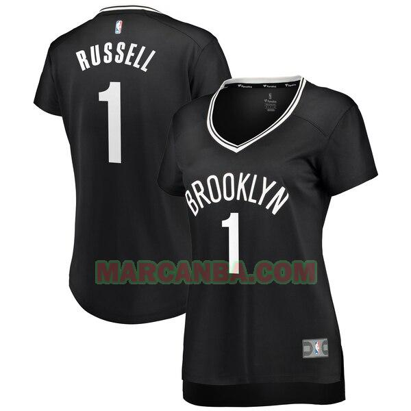 Camiseta Brooklyn Nets Réplica Negro D'Angelo Russell 1 Mujer