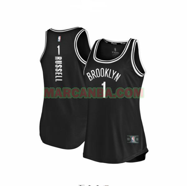 Camiseta Brooklyn Nets clasico Negro D'Angelo Russell 1 Mujer