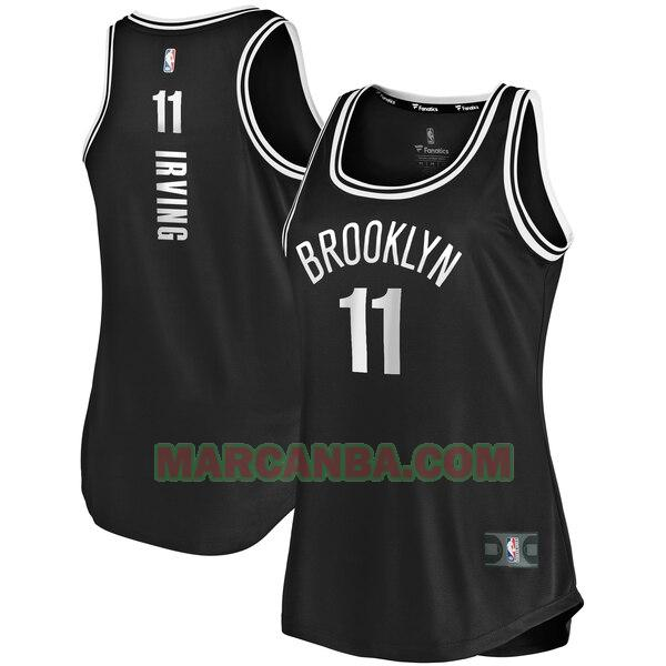 Camiseta Brooklyn Nets clasico Negro Kyrie Irving 11 Mujer