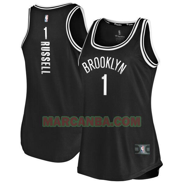 Camiseta Brooklyn Nets icon edition Negro D'Angelo Russell 1 Mujer
