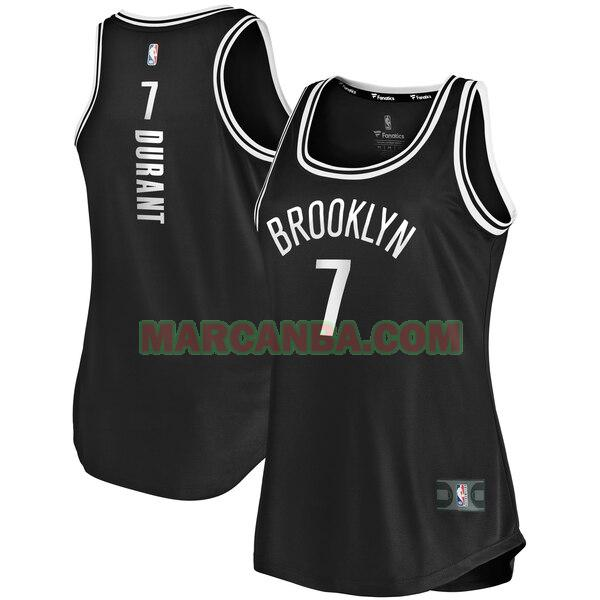 Camiseta Brooklyn Nets icon edition Negro Kevin Durant 7 Mujer