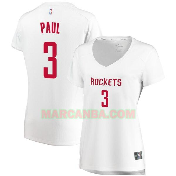 Camiseta Houston Rockets association edition Blanco Chris Paul 3 Mujer