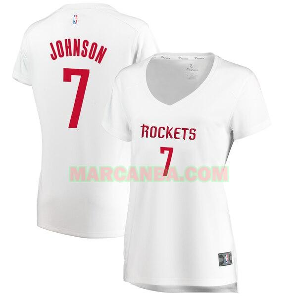Camiseta Houston Rockets association edition Blanco Joe Johnson 7 Mujer