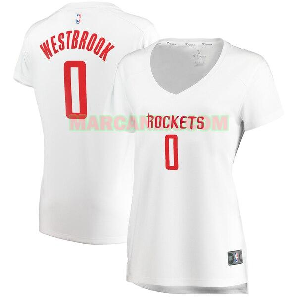 Camiseta Houston Rockets association edition Blanco Russell Westbrook 0 Mujer