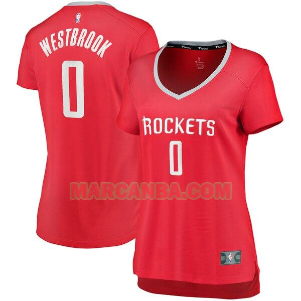 Camiseta Houston Rockets icon edition Rojo Russell Westbrook 0 Mujer