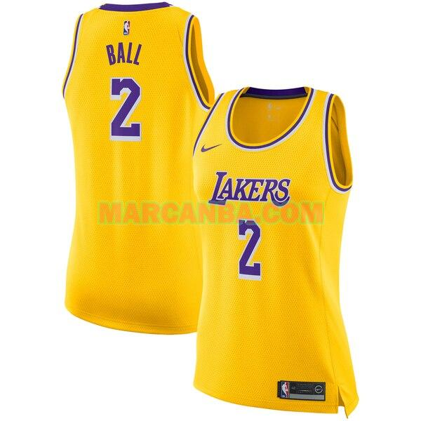 Camiseta Los Angeles Lakers Nike icon edition Amarillo Lonzo Ball 2 Mujer