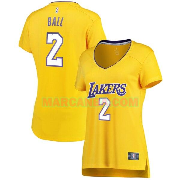 Camiseta Los Angeles Lakers icon edition Amarillo Lonzo Ball 2 Mujer