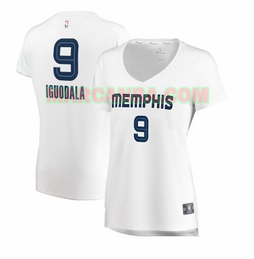 Camiseta Memphis Grizzlies association edition Blanco Andre Iguodala 9 Mujer