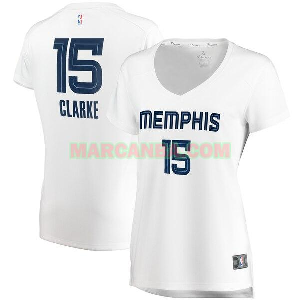 Camiseta Memphis Grizzlies association edition Blanco Brandon Clarke 15 Mujer