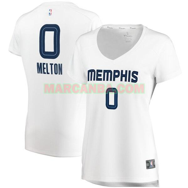 Camiseta Memphis Grizzlies association edition Blanco De'Anthony Melton 0 Mujer