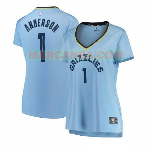 Camiseta Memphis Grizzlies statement edition Azul Kyle Anderson 1 Mujer