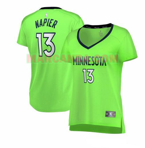 Camiseta Minnesota Timberwolves statement edition Verde Shabazz Napier 13 Mujer