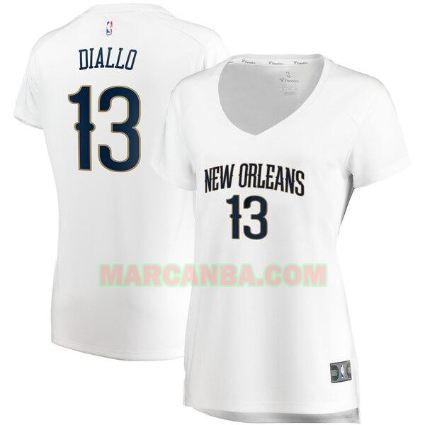 Camiseta New Orleans Pelicans association edition Blanco Cheick Diallo 13 Mujer