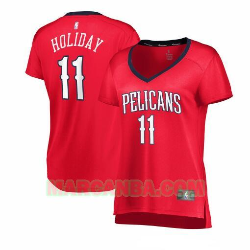 Camiseta New Orleans Pelicans statement edition Rojo Jrue Holiday 11 Mujer