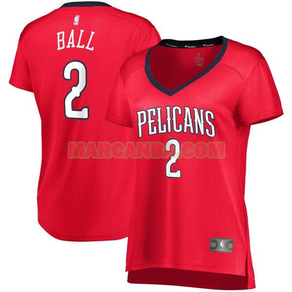Camiseta New Orleans Pelicans statement edition Rojo Lonzo Ball 2 Mujer